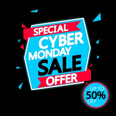 Cyber Monday Sale 50% off, banner design template, discount tag, special offer, vector illustration