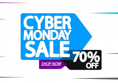 Cyber Monday Sale 70% off, banner design template, discount tag, special offer, vector illustration