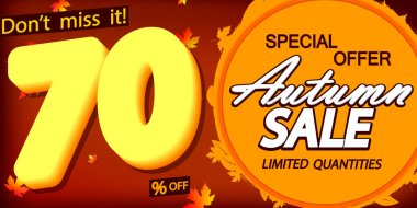 Autumn Sale up to 70% off, Fall discount poster design template, spend up and save more, special offer, end of season, vector illustration