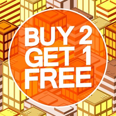 Buy 2 Get 1 Free, Autumn Sale poster design template, Fall offer, special deal, don't miss out, vector illustration