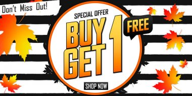 Buy 1 Get 1 Free, Autumn Sale poster design template, bogo offer, Fall discount, special deal, don't miss out, vector illustration