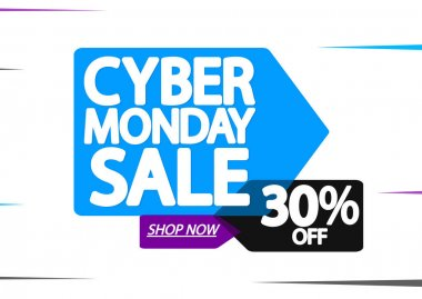 Cyber Monday, Sale 30% off, banner design template, discount tag, special offer, vector illustration