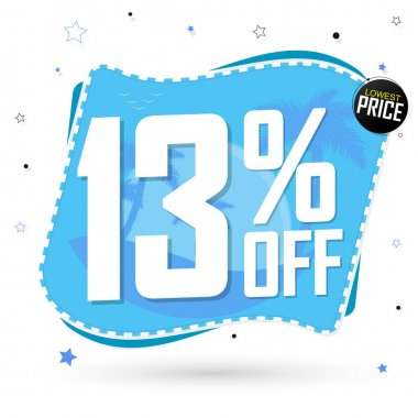 Sale 13% off, discount banner design template, promo tag, spend up and save more, vector illustration