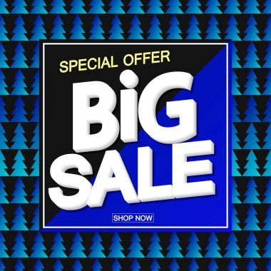Big Sale, poster design template, special offer, Christmas discount banner, vector illustration