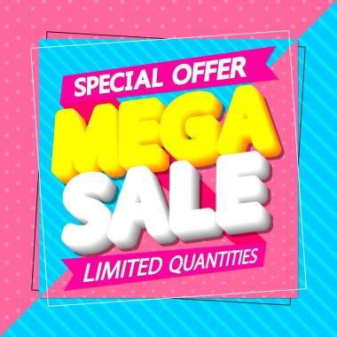 Mega Sale, poster design template, special offer, discount banner, vector illustration