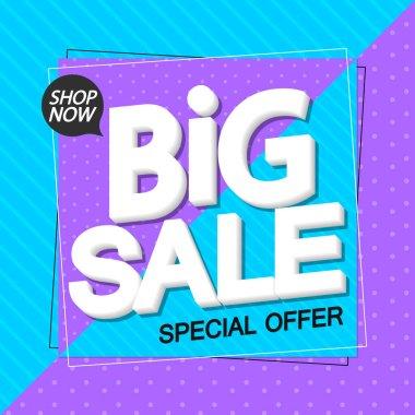 Big Sale, poster design template, special offer, discount banner, vector illustration