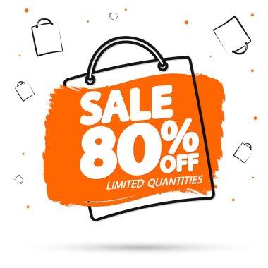 Sale 80% off, banner design template, discount tag, vector illustration