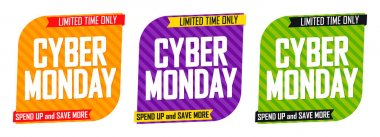 Cyber Monday, Set Sale banners design template, discount tags, final season offers, vector illustration
