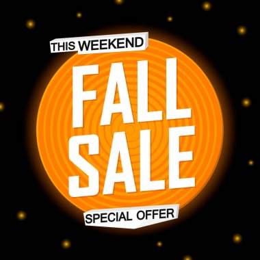 Fall Sale, Autumn discount poster design template, special offer, spend up and save more, vector illustration