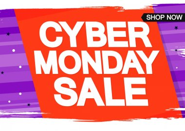 Cyber Monday Sale, poster design template, clearance offer, end of season deal, spend up and save more, vector illustration