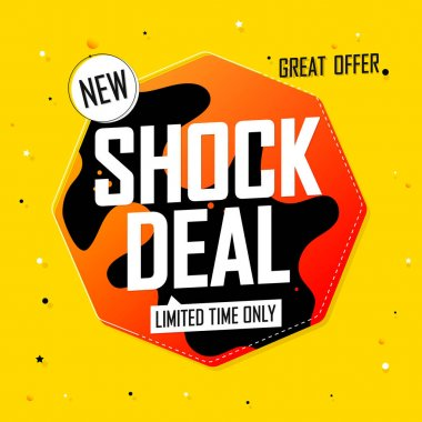 Shock Deal tag, Sale banner design template, discount tag, special offer, promo tag, spend up and save more, promotion poster, vector illustration