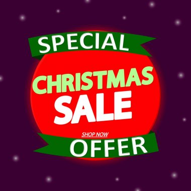 Christmas Sale, offer banner design template, discount tag, vector illustration