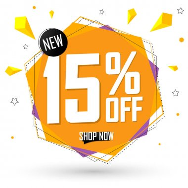 Sale 15% off, discount banner design template, promo tag, spend up and save more, vector illustration