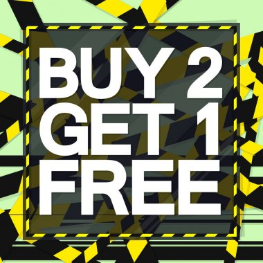 Buy 2 Get 1 Free, Sale poster design template, special offer, vector illustration