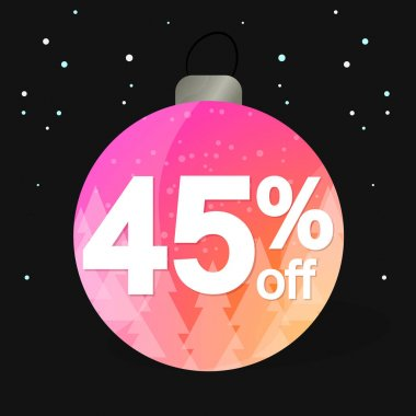 Christmas Sale 45% off, banner design template, discount tag, spend up and save more, special offer, big deal, lowest price, promotion poster, vector illustration