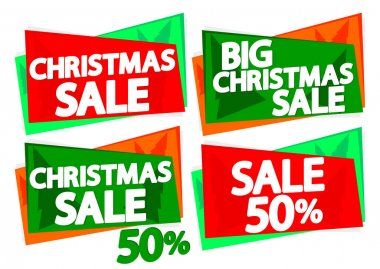 Christmas Sale 50% off, banner design template, discount tag, spend up and save more, special offer, big deal, lowest price, promotion poster, vector illustration