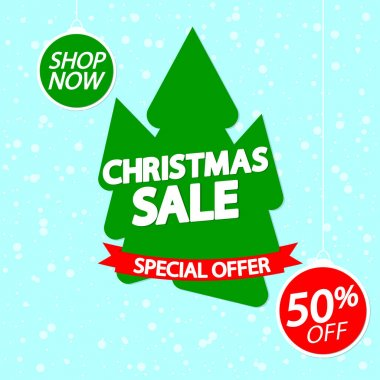 Christmas Sale 50% off, banner design template, Xmas discount tag, spend up and save more, special offer, big deal, lowest price, promotion poster, vector illustration