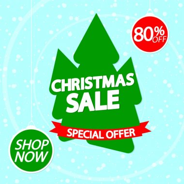 Christmas Sale 80% off, banner design template, Xmas discount tag, spend up and save more, special offer, big deal, lowest price, promotion poster, vector illustration