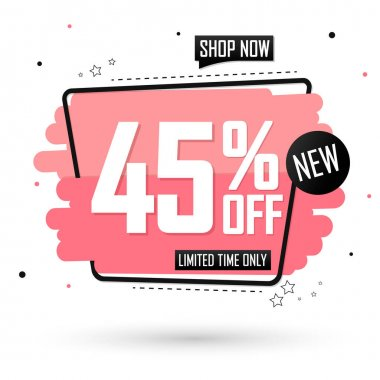 Sale 45% off, banner design template, discount tag, spend up and save more, special offer, big deal, lowest price, promotion poster, vector illustration