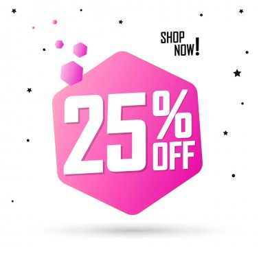 Sale 25% off, discount banner design template, promo tag, spend up and save more, vector illustration