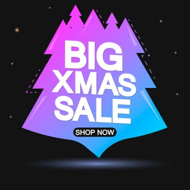 Christmas Sale, banner design template, discount tag, Xmas offer, holiday promo tag, spend up and save more, promotion poster, vector illustration
