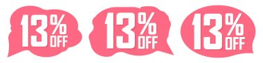Set Sale 13% off banners, discount tags design template, promo app icons, extra deals, lowest price, vector illustration