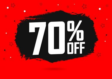 Sale 70% off, banner design template, discount tag, spend up and save more, special offer, big deal, lowest price, promotion poster, vector illustration