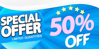 Special Offer, up to 50% off, sale poster design template, horizontal banner, spend up and save more, vector illustration