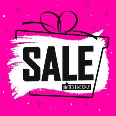 Sale banner design template, discount tag, vector illustration