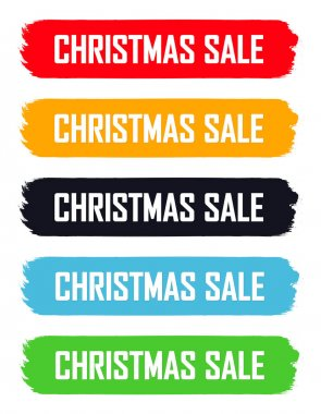 Set Christmas Sale banners design template, Xmas discount tags, offer badge new collection, vector illustration