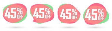 Set Sale 45% off banners, discount bubble tags design template, promo app icons, extra deals, lowest price, vector illustration