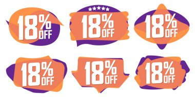 Set Sale 18% off banners, discount tags design template, promo app icons, extra deals, lowest price, vector illustration