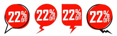 Set Sale 22% off banners, discount tags design template, promo app icons, extra deals, lowest price, vector illustration