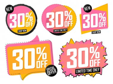 Set Sale 30% off banners, discount tags design template, promo app icons, extra deals, lowest price, vector illustration