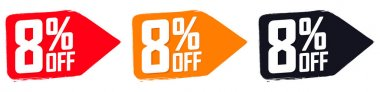Set Sale 8% off banners, discount tags design template, promo app icons, extra deals, lowest price, vector illustration