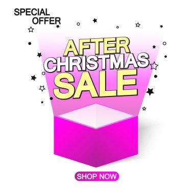 After Christmas Sale, offer banner design template, discount tag, vector illustration