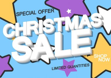 Christmas Sale, poster design template, special offer, discount banner, vector illustration