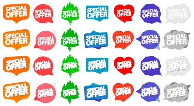 Set Special Offer tags, sale banners design template, vector illustration