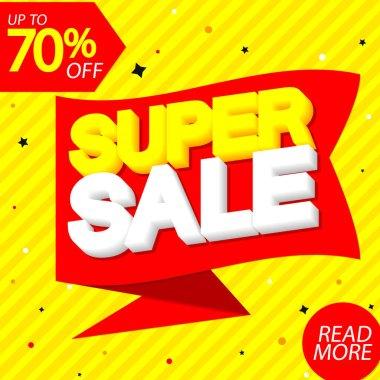 Super Sale 70% off, banner design template, discount tag, special offer, big deal, lowest price, promotion poster, vector illustration