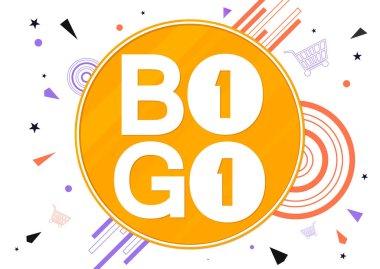 BOGO, Sale poster design template, buy 1 get 1 free, banner offer, special deal, vector illustration