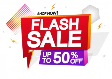 Flash Sale 50% off, tags design template, discount banners, promotion poster, special offer tag, vector illustration
