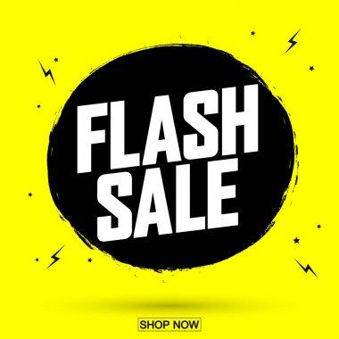 Flash Sale, discount banner design template, retail tag, promotion poster, vector illustration