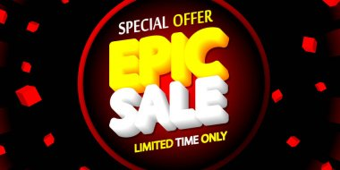 Epic Sale, discount poster design template, special offer, spend up and save more, promotion banner, end of season, vector illustration