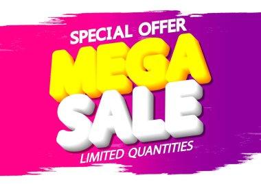Mega Sale, discount poster design template, special offer, spend up and save more, promotion banner, end of season, vector illustration