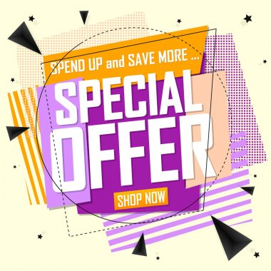 Special Offer, sale banner design template, discount tag, lowest price, app icon, promo poster, vector illustration