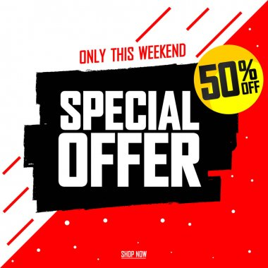 Special Offer, 50% off, sale banner design template, discount tag, promotion poster, vector illustration