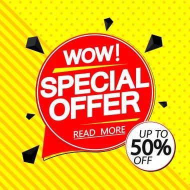 Special Offer, 50% off, sale banner design template, discount tag, promotion poster, vector illustration