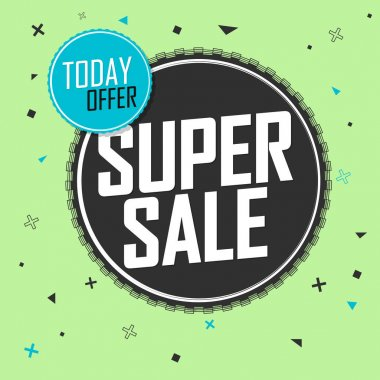 Super Sale, banner design template, discount tag, special offer, promo tag, promotion poster, vector illustration