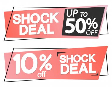 Shock Deal, Sale 50% off, tags design template, discount banners, promotion poster, special offer tag, vector illustration