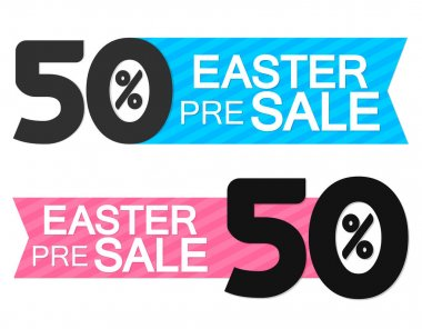 Easter Pre Sale 50% off, tags design template, discount banners, promotion poster, special offer tag, vector illustration